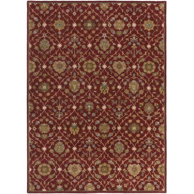 Phinney Hand-Tufted Red Area Rug Rug Size: Rectangle 76 x 96