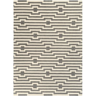 Zeitz Hand Woven Wool Gray/Ivory Area Rug Rug Size: Rectangle 4 x 6
