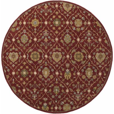 Phinney Hand-Tufted Red Area Rug Rug Size: Round 36