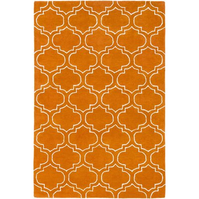 Signature Emily Hand-Tufted Orange Area Rug Rug Size: Round 6
