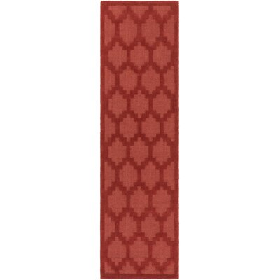 Bracey Hand-Loomed Red Area Rug Rug Size: Runner 23 x 14