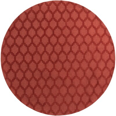 Bracey Hand-Loomed Red Area Rug Rug Size: Round 6