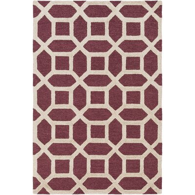 Wyble Hand-Tufted Maroon Area Rug Rug Size: Rectangle 76 x 96