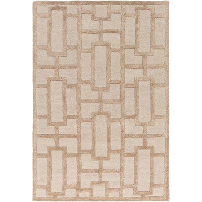 Perpetua Hand-Tufted Tan Area Rug Rug Size: Rectangle 76 x 96
