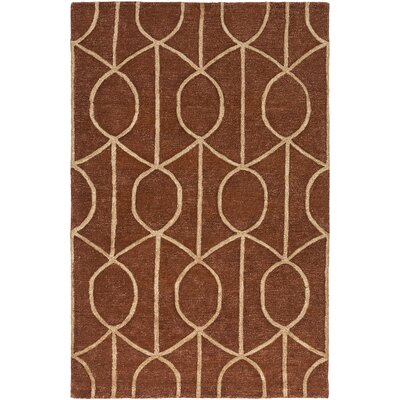 Abbey Hand-Tufted Rust Area Rug Rug Size: Round 6