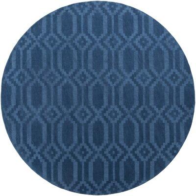 Brack Hand-Loomed Blue Area Rug Rug Size: Round 6