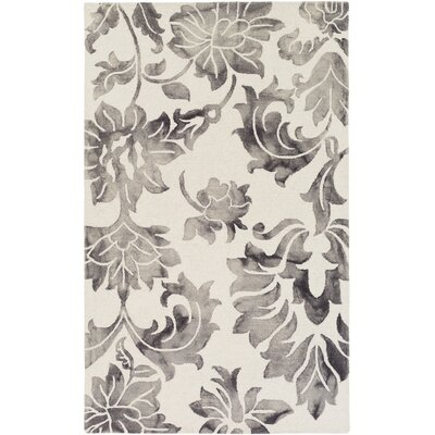 Kier Hand Tufted Gray/Off-White Area Rug Rug Size: Rectangle 4 x 6