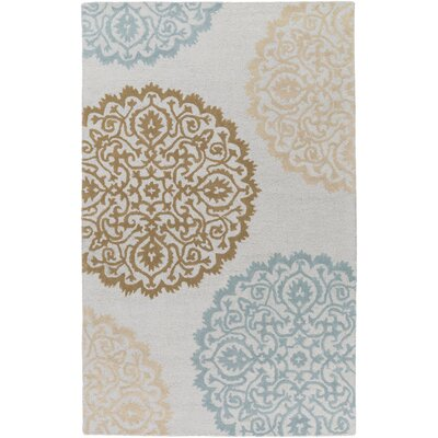 Couture Hand Tufted Ivory/Blue Area Rug Rug Size: Rectangle 4 x 6