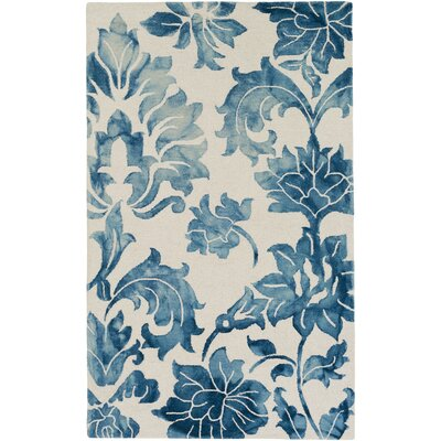Kier Hand-Tufted Navy Blue/White Area Rug Rug Size: Rectangle 4 x 6