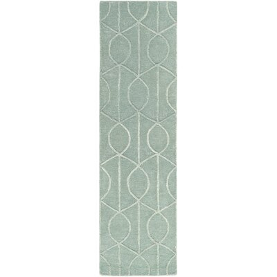 Abbey Hand-Tufted Teal Area Rug Rug Size: Round 6