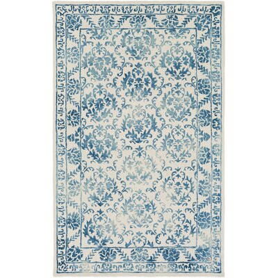Kiernan Hand Tufted Teal/Off-White Area Rug Rug Size: Rectangle 9 x 13