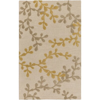 Coutu Hand-Tufted Beige/Gold Area Rug Rug Size: Rectangle 4 x 6