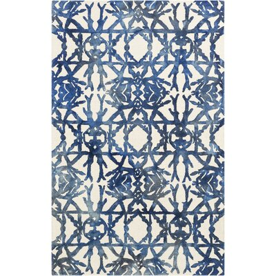 Glenmoor Hand-Tufted Navy/Off-White Area Rug Rug Size: Rectangle 4 x 6