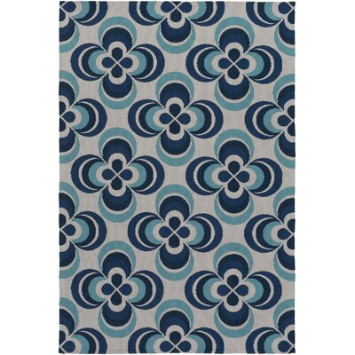 Joan Everston Navy Blue/Aqua Area Rug Rug Size: 76 x 96