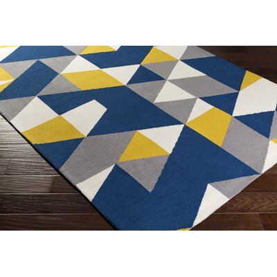 Block Hand Tufted Navy Area Rug Rug Size: Runner 23 x 10