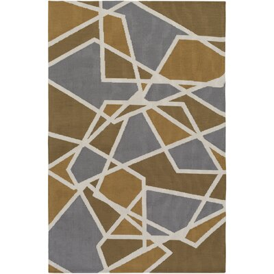 Joan Holloway Gold/Gray Area Rug Rug Size: 76 x 96