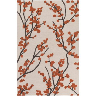 Dykstra Hand-Crafted Poppy Red/Ivory Area Rug Rug Size: Rectangle 8 x 11
