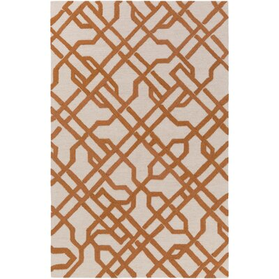 Daigle Hand-Crafted Orange Area Rug Rug Size: Rectangle 3 x 5