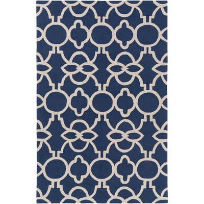 Sandi Hand-Crafted Navy Blue Area Rug Rug Size: Rectangle 3 x 5