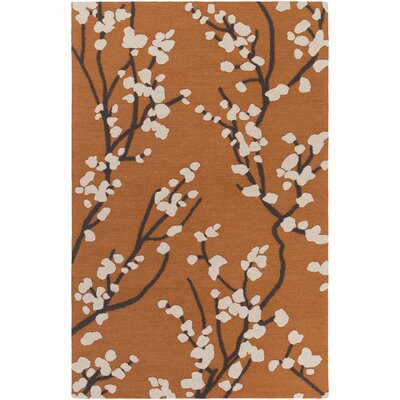 Dykstra Hand-Crafted Orange/Ivory Area Rug Rug Size: Rectangle 5 x 76