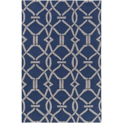 Dyess Hand-Crafted Navy Blue/Gray Area Rug Rug Size: Rectangle 5 x 76