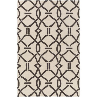 Dyess Hand-Crafted Cream/Brown Area Rug Rug Size: Rectangle 3 x 5