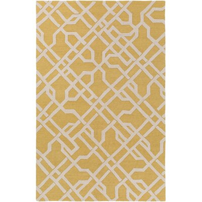 Daigle Hand-Crafted Yellow/Off-White Area Rug Rug Size: Rectangle 76 x 96