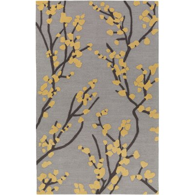 Dykstra Hand-Crafted Gray/Yellow Area Rug Rug Size: Rectangle 76 x 96