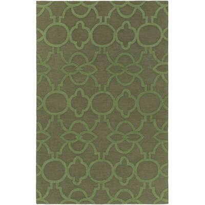 Sandi Hand-Crafted Olive Green Area Rug Rug Size: Rectangle 5 x 76