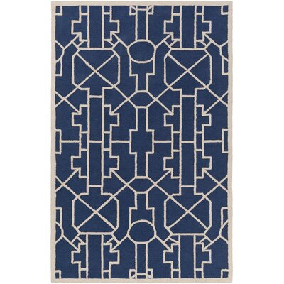 Marigold Leighton Hand-Crafted Navy Blue Area Rug Rug Size: 76 x 96
