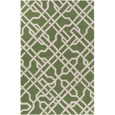 Marigold Catherine Hand-Crafted Green Area Rug Rug Size: 76 x 96