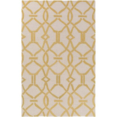 Dyess Hand-Crafted Beige/Yellow Area Rug Rug Size: Rectangle 3 x 5