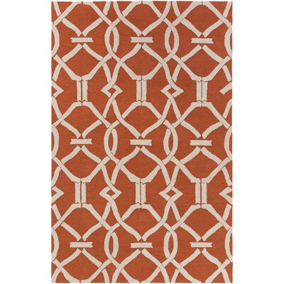 Dyess Hand-Crafted Poppy Red Area Rug Rug Size: Rectangle 5 x 76