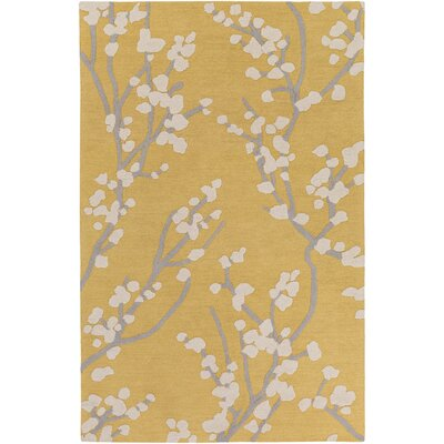 Dykstra Hand-Crafted Yellow/Ivory Area Rug Rug Size: Rectangle 76 x 96