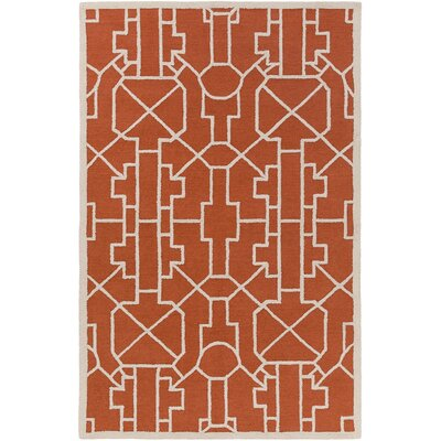 Salamanca Hand-Crafted Poppy Red Area Rug Rug Size: Rectangle 5 x 76