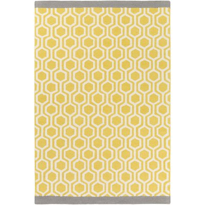 Blitar Hand-Crafted Yellow/Gray Area Rug Rug Size: 5 x 76