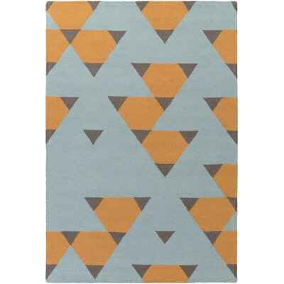 Hilda Brigitte Hand-Crafted Orange, Aqua/Gray Area Rug