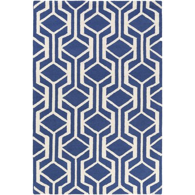 Younkin Hand-Crafted Blue/White Area Rug Rug Size: Rectangle 76 x 96