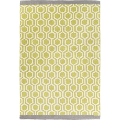 Hilda Eva Hand-Crafted Lime/Gray Area Rug Rug Size: 76 x 96