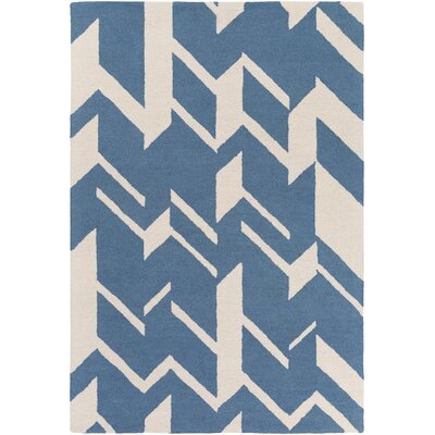 Youmans Hand-Crafted Blue/White Area Rug Rug Size: Rectangle 76 x 96