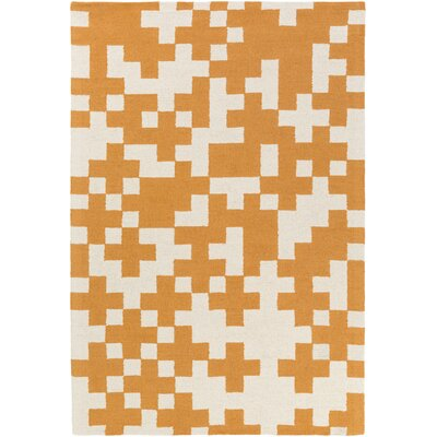 Youngman Hand-Crafted Orange/White Area Rug Rug Size: Rectangle 5 x 76