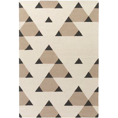 Youngquist Hand-Crafted Ivory/Taupe Area Rug Rug Size: Rectangle 76 x 96