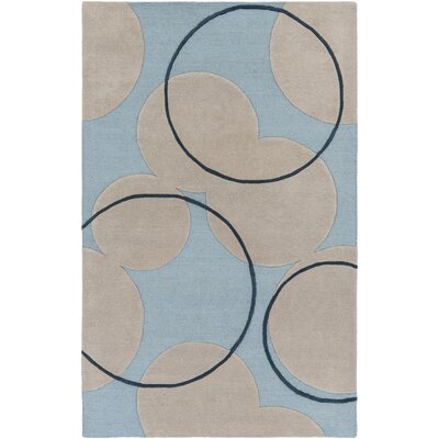 Labarbera Hand-Tufted Light Blue/Beige Area Rug Rug Size: Rectangle 5 x 8