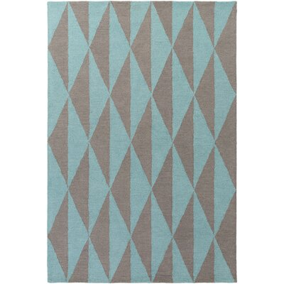 Yowell Hand-Crafted Charcoal/Teal Area Rug Rug Size: Rectangle 76 x 96