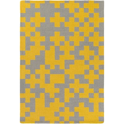 Youngman Hand-Crafted Yellow/Gray Area Rug Rug Size: Rectangle 76 x 96