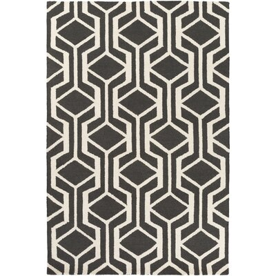 Younkin Hand-Crafted Black Area Rug Rug Size: Rectangle 3 x 5
