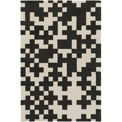 Youngman Hand-Crafted Black/Cream Area Rug Rug Size: Rectangle 5 x 76