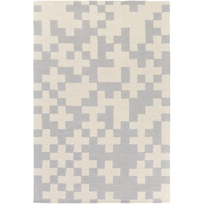 Youngman Hand-Crafted Gray/Ivory Area Rug Rug Size: Rectangle 76 x 96