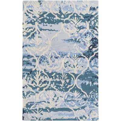 Dilorenzo Hand-Tufted Teal/Beige Area Rug Rug Size: Rectangle 4 x 6