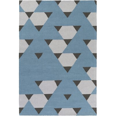 Hilda Brigitte Hand-Crafted Blue/Gray Area Rug